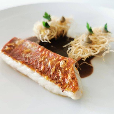 Line Caught Red Mullet Civet sauce and EGGPLANT