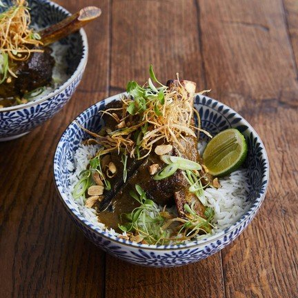 Low & slow cooked short-rib in a spiced coconut, lemongrass & tamarind sauce
