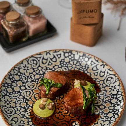 Sous-Vide Pork Tenderlion with Bronte Pistachios & Seasonal mushrooms