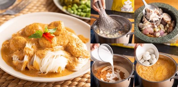 """วิธีทำ """"ขนมจีนน้ำยากะทิ"""" เมนูอาหารไทยสุดเข้มข้น ทำกินฟิน ๆ ได้ที่บ้าน!"""