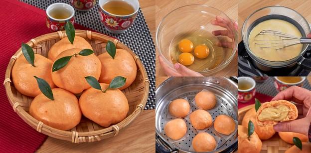 """วิธีทำ """"ซาลาเปาส้มไส้คัสตาร์ด"""" เมนูอาหารจีนน่าหม่ำ หอมนุ่ม ไส้ทะลั"""
