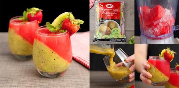 """วิธีทำ """"กีวีแตงโมปั่น"""" เมนูเครื่องดื่มเปรี้ยวหวาน สดชื่นรับหน้าร้อน"""
