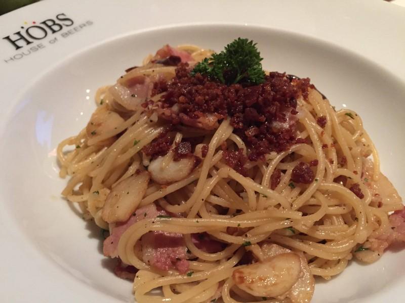 Olive oil bacon pasta