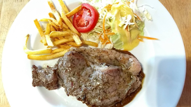 beef steak, frenchfries, salad