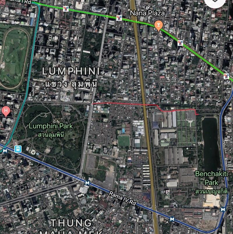 แผนที่เส้นทางทั้งหมด ที่แสดงการเชื่อมสองสวน (เส้นสีแดง)