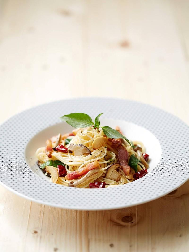 Capellini Olio Bacon& Mushroom##1