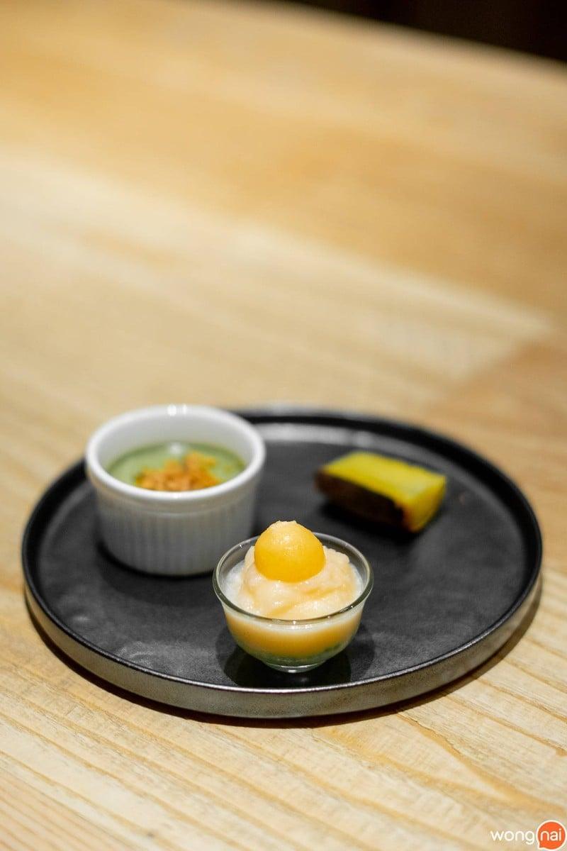 มันหวานญี่ปุ่นอิบารากิย่างเตาถ่าน พานาคอตตาโคโคนัทมัทฉะกับทองม้วน และสาคูแคนตาลู
