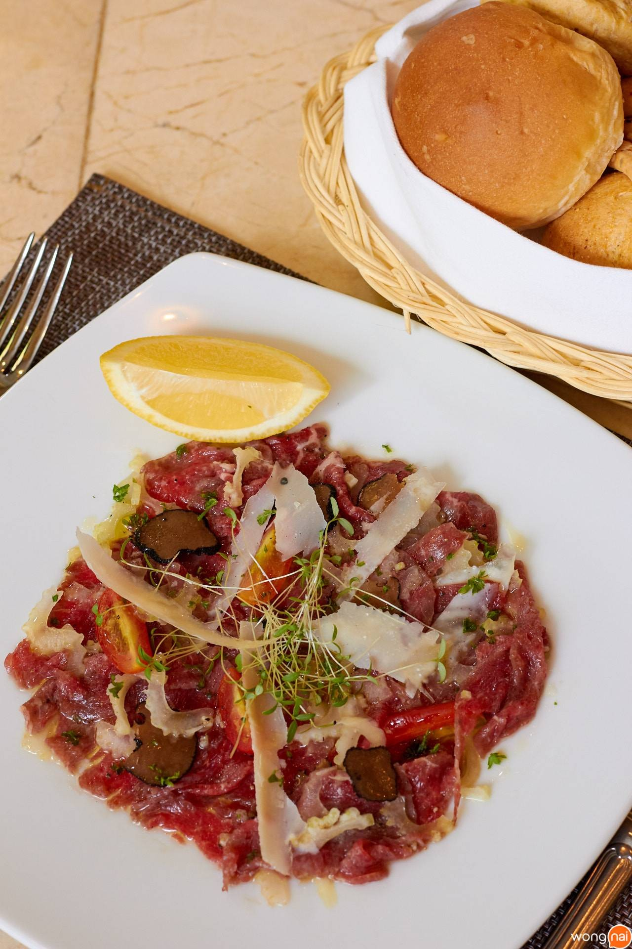 "Beef ""Carpaccio"" with Truffle, Celery and Parmesan Flakes ของร้าน No.43 Italian Bistro"