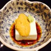 Mineoka tofu topped with fresh Uni