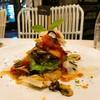 lasagna salad ผักย่างตัดกับซอสมะเขือเทศดีมาก